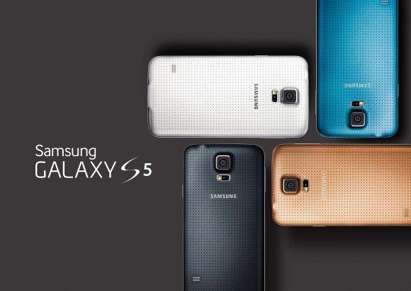 Samsung Galaxy S5 kleuren: Charcoal Black, Shimmery White, Electric Blue en Copper Gold