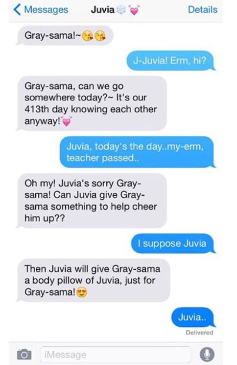 This is Gray's phone and Juvia's name has a heart next to it!!!
