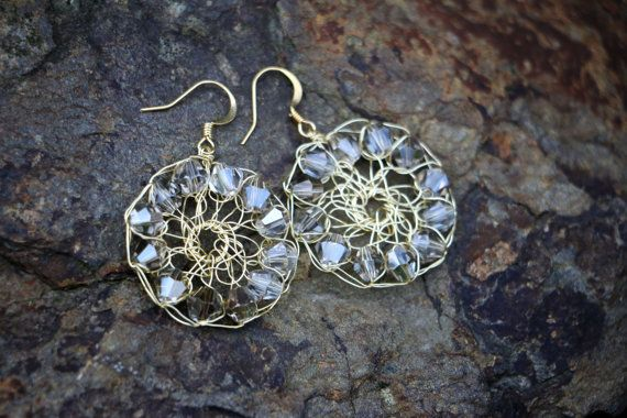 Glittering Pale Gold Wire Mesh Crochet Earrings by nZuriArtDesigns