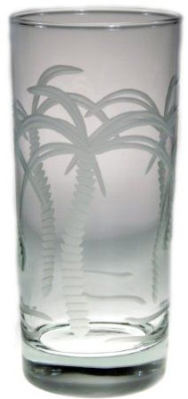 Amazon.com: Palm Tree Cooler Glasses 15oz Set of 4 Nautical Tropical Home Decor: Home & Kitchen