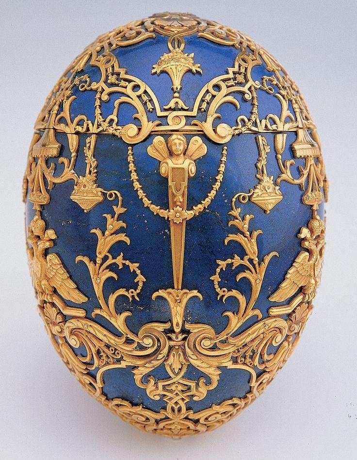 Fabergé firm   (Russian , 20th century) Henrik Wigström  (Russian , 1862 - 1923) Imperial Czarevich Easter Egg 1912  Lapis lazuli, gold, diamonds, platinum or silver