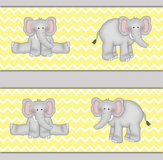 ELEPHANT NURSERY BORDER Decal Yellow Grey Chevron Neutral Safari Jungle Animal Room Baby Girl Boy Wall Art Stickers Decor Shower Decorations #decampstudios