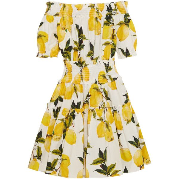 Dolce & Gabbana Smocked printed cotton-poplin mini dress found on Polyvore featuring dresses, dolce & gabbana, платья, yellow, smocked dresses, embellished dresses, white dress, embellished mini dress and yellow dress