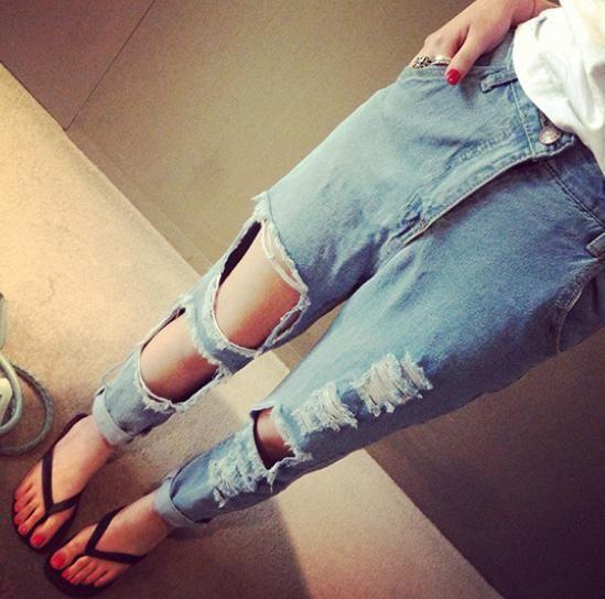 А32 Женщин разорвал джинсы джинсовая шаровары Женщина Колен Тощий Карандаш Брюки Тонкий Denim Ripped Boyfriend Jeans