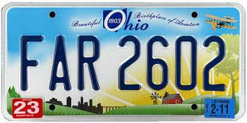 The official Ohio state license plate.