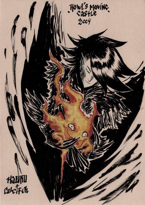 Hauru & Calcifer (Howl's Moving Castle) [Black ink & alcohol-based ink markers on A4 250g natural]