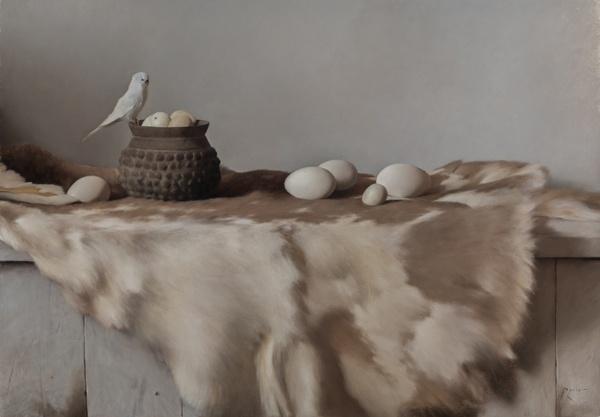 Carlo Russo, 'Still Life with Parakeet, Eggs, & Pelt', 24 x 34, Oil on Linen