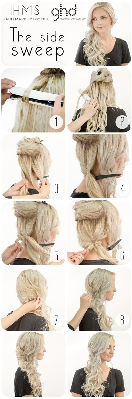 Hair and Make-up by Steph: How To: Bridal Side Swept Hair