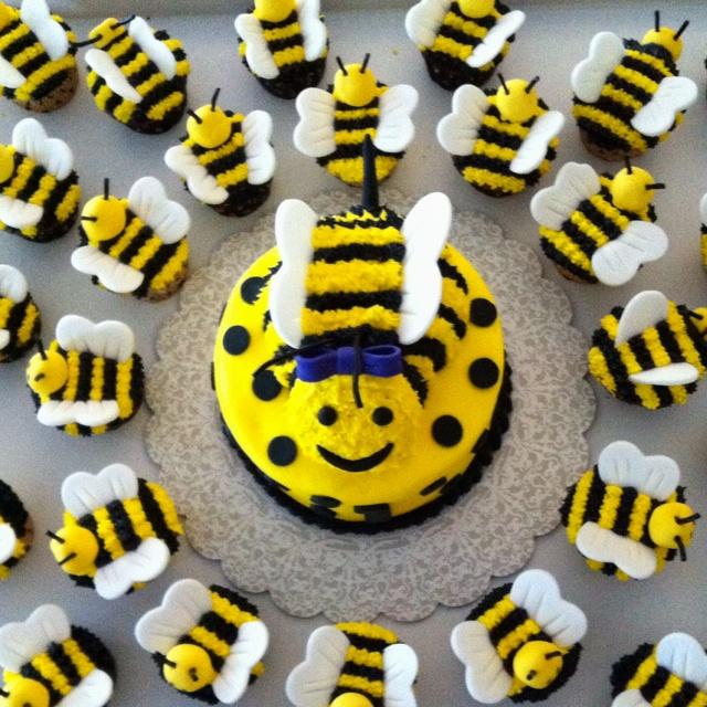Bee birthday cake and cupcakes