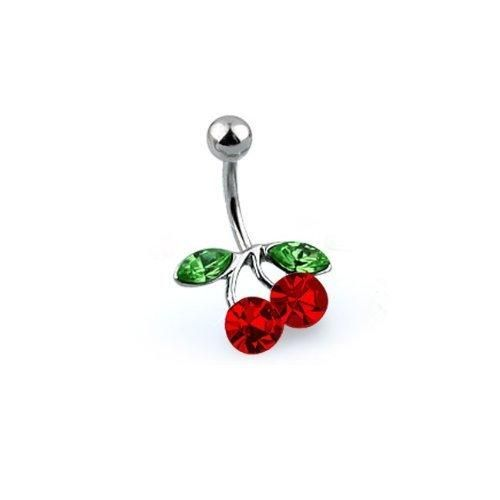 Bling Jewelry Ruby Color Cubic Zirconia Cherry Belly Ring 316L Stainless Steel