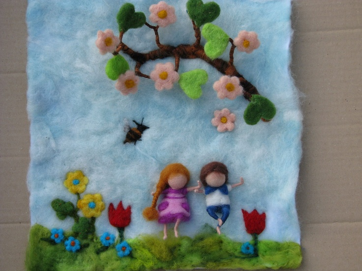 Needle felted tapestry, four seasons.