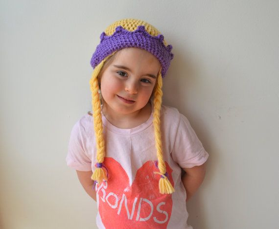 Girls Princess Beanie with Plaits Crochet by LittleFoxCrochet
