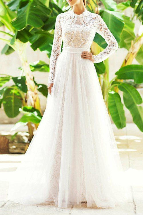 Openwork Lace Voile Spliced Long Sleeves Maxi Dress AS