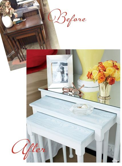 Nesting tables painted white, lower two given faux bois paint treatment, mirrored top for the largest table.