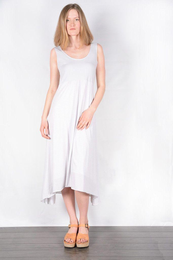 Organic cotton striped maxi dress. www.sustainlux.com