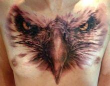 Eagle Head Chest Tattoo