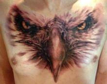 Eagle Head Chest Tattoo