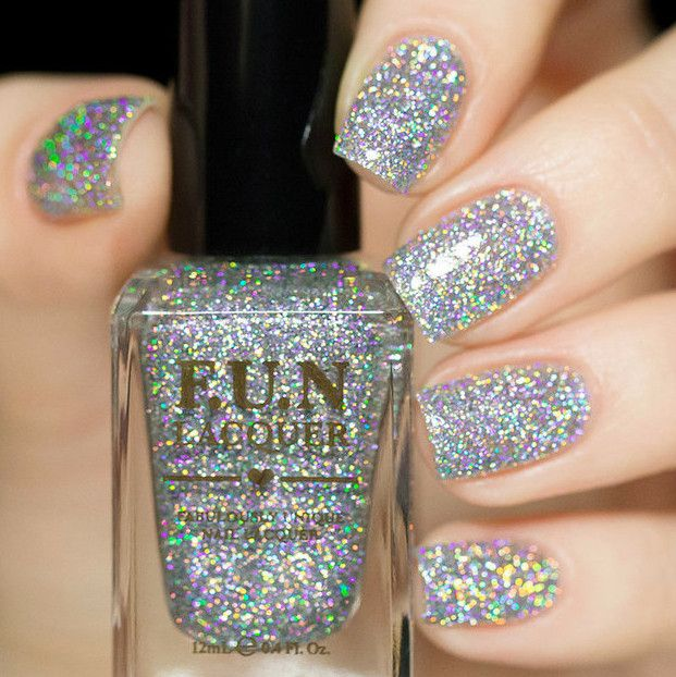 Silver sparkly holographic glitter nail polish!