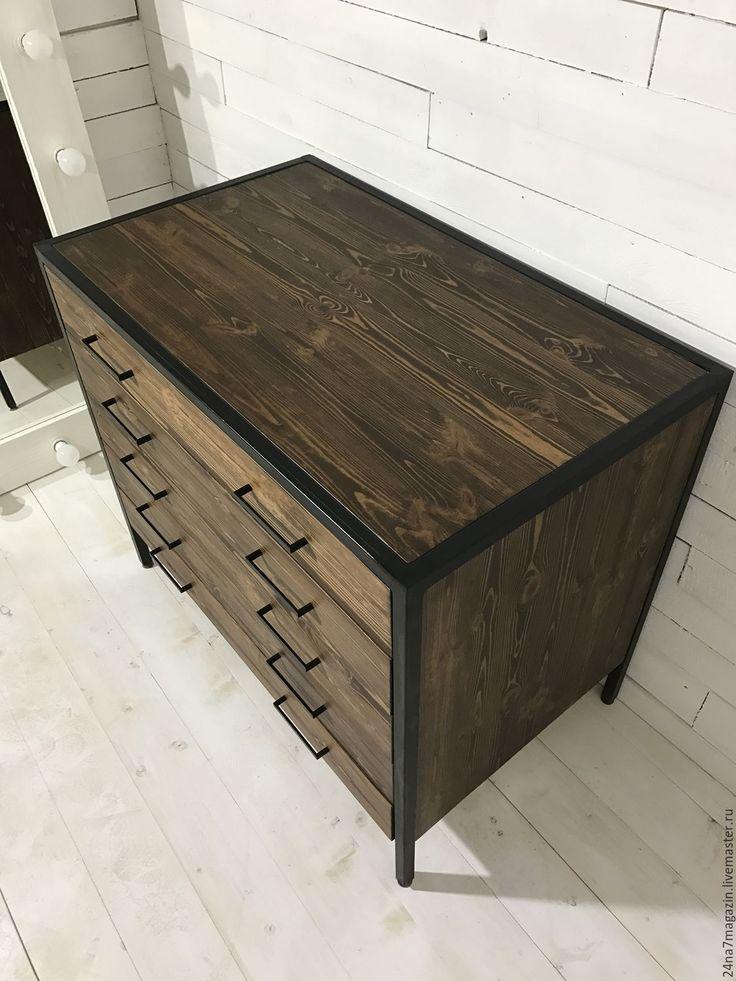 Купить Комод CALIFORNIA - коричневый, комод, комод из массива, комод на металлокаркасе, Мебель, мебель из металла