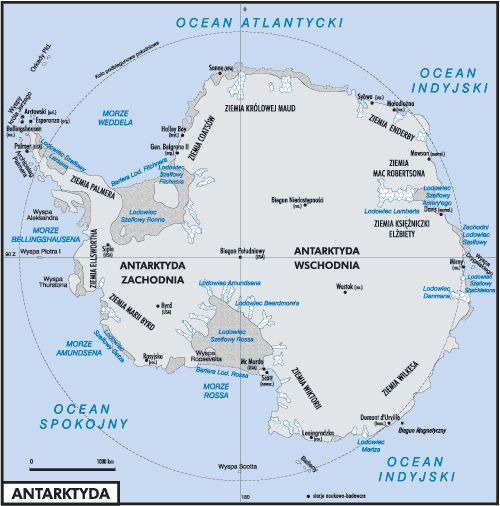 Mapa ,położenie Antarktydy.