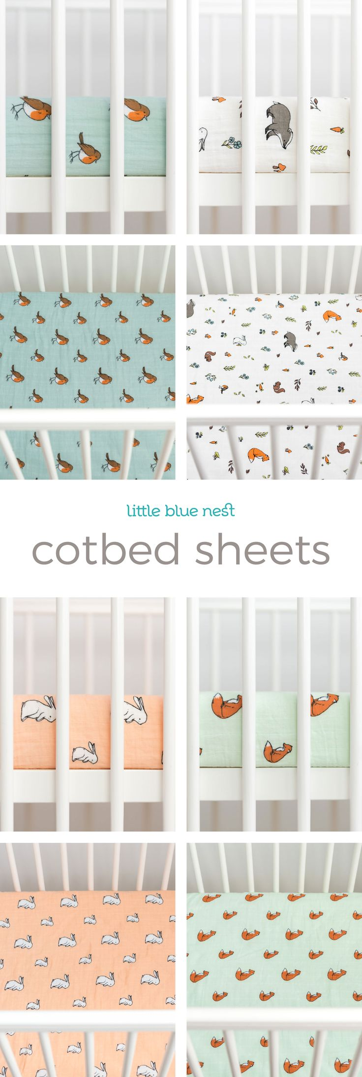 Four beautiful cotbed sheet designs for your perfect woodland nursery. Our cot bedding sheets are made from the softest and purest GOTS organic cotton muslin thread, carefully crafted to help your little one get a blissful nights sleep.  Each fitted sheet is elasticated to fit cot or crib mattresses from 130x70cm to 140x70cm up to a maximum thickness of 20cm. You can also tuck them around smaller cot or crib mattresses sized 120x60cm. Designs include Little robin, Into the woods, Long ear…