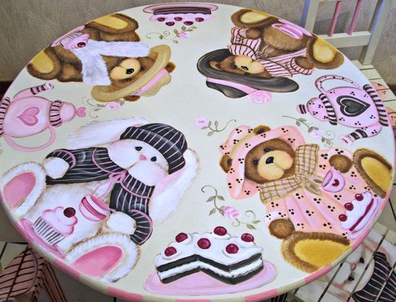 Hand Painted Custom Teddy Bear and Bunny Tea party by originalsbybarbmazur, $575.00