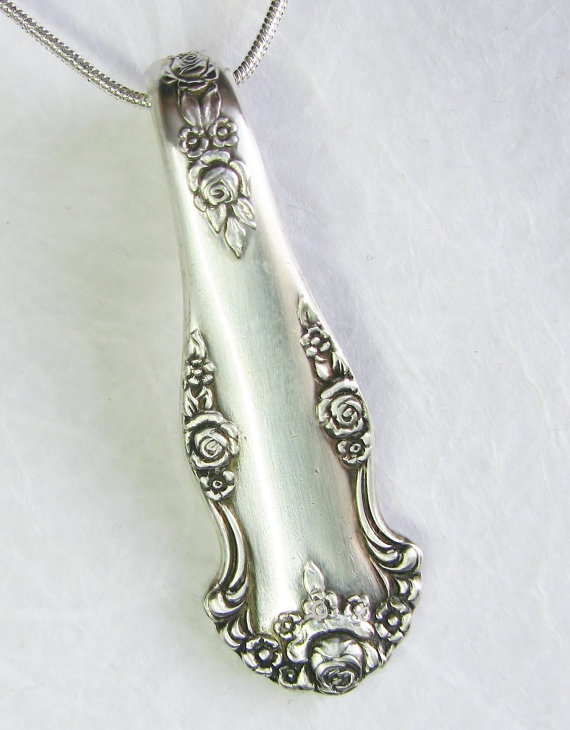 "Spoon Handle Necklace, Spoon Pendant, Silverware Jewelry, ""Holiday 1951"""