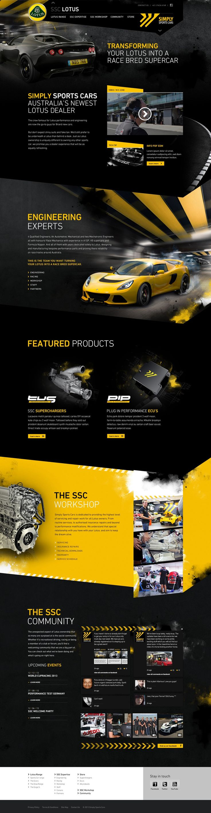 SSC LOTUS. Simply Sports Cars. Consistency of black and yellow pattern makes the whole layout flow even though each section is differently laid out