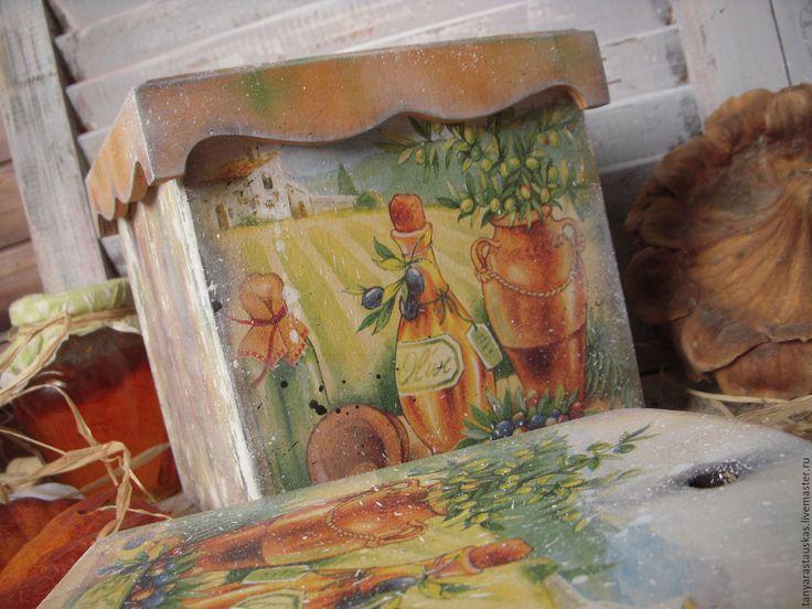 """Купить """"Под солнцем Тосканы"""" - набор для кухни - короб для хранения, короб для специй, доска для кухни"""