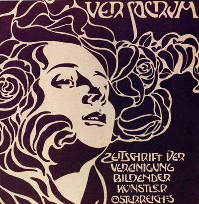 Capa da Revista Ver Sacrum. (1898) A revista tinha como objetivo de ser singular e única e, para tal objetivo, Josef Hoffmann sugeriu que a revista fosse criada em formato quadrado e com imenso uso de somente as cores preto e branco. Foi uma aposta de sucesso.
