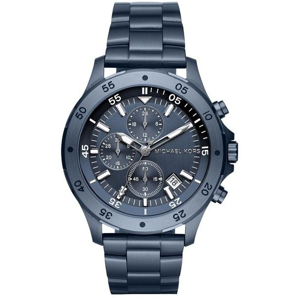 Michael Kors Men's Walsh Stainless Steel Bracelet Watch (8,070 THB) ❤ liked on Polyvore featuring men's fashion, men's jewelry, men's watches, blue, mens chronograph watches, blue dial mens watches, mens water resistant watches, mens stainless steel watches and mens blue watches