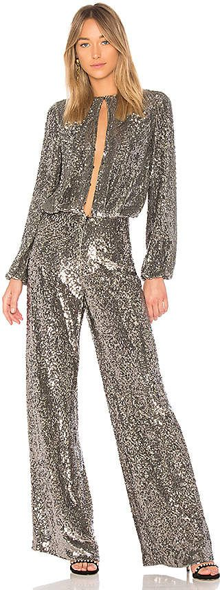 Silver Sequin Jumpsuit With Cut out