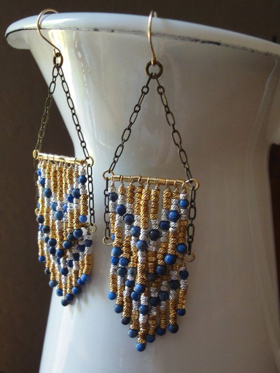 Southwestern Chandelier Earrings with Chevron Fringe Design in Gold, Silver and Blue Lapis