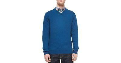 NWT ROBERT GRAHAM M textured sweater V-neck relaxed classic men's teal wool $228