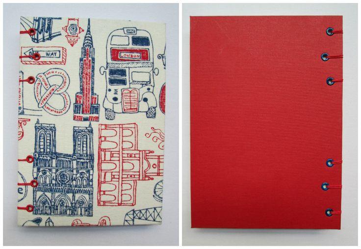 Travel Formato A5. Medidas: 21,5 cm. x 15,5 cm.  80 Hojas lisas, bookcel (color ahuesado). Tela.VENDIDO