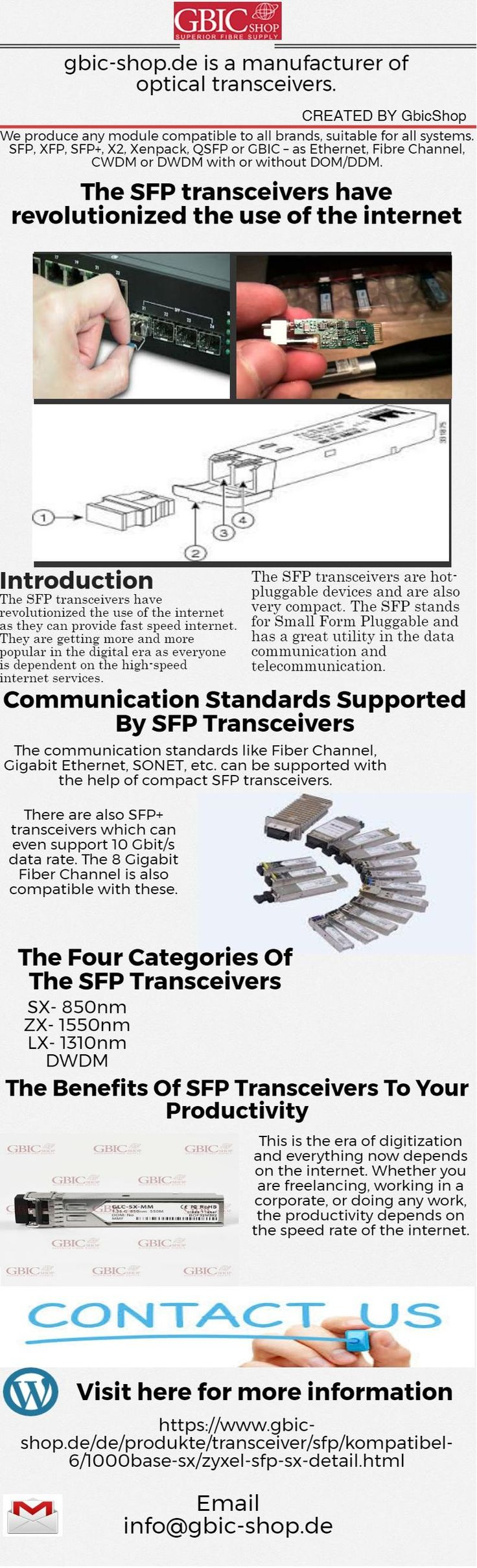 https://www.gbic-shop.de/de/produkte/transceiver/sfp/kompatibel-6/1000base-sx/zyxel-sfp-sx-detail.html  The SFP transceivers are hot-pluggable devices and are also very compact. The SFP stands for Small Form   Pluggable and has a great utility in the data communication and telecommunication.