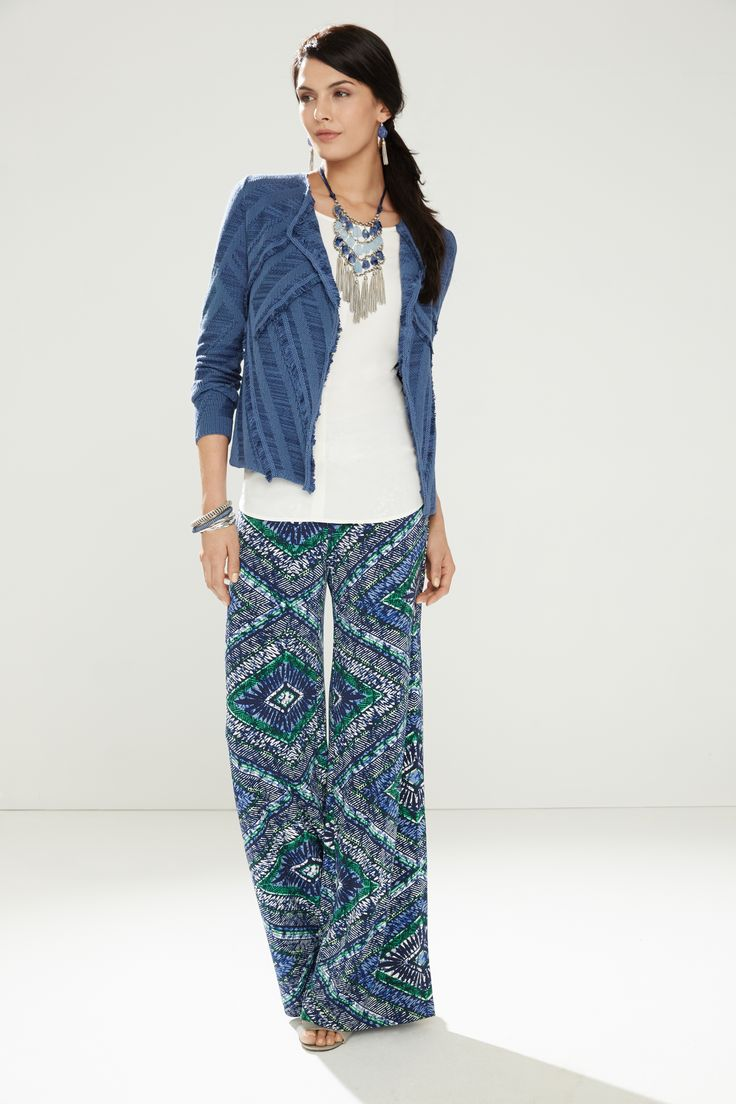 Wide-leg, palazzo pants are so in right now. I don't like the print but do like the wide legs