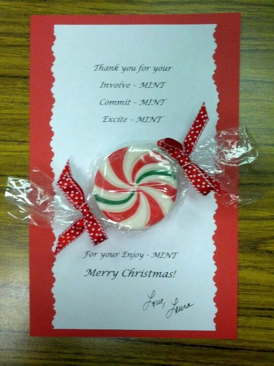 Easy to modify so that it isn't Christmas themed.  Could even use mint gum instead--Volunteer appreciation