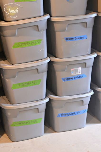Pack items that will be in storage, garage or basement in plastic bins. Items such as holiday decor, camping items, baby clothes, seasonal clothes, and whatever else you store because it is not used all the time. Storage units can get infested with bugs or mice, basements can flood, garages can flood along with other damages. These bins will protects those items.
