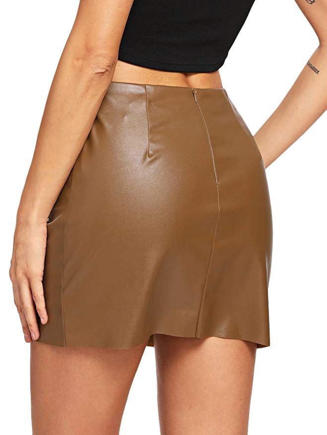 3ddfd6681 Floerns Women's Pocket Zipper Faux Leather Bodycon Short Skirt at Amazon  Women's Clothing store: