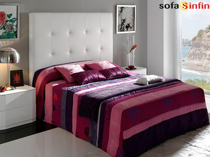 Cabecero de cama tapizado en piel y polipel modelo Patricia fabricado Dupen en Sofassinfin.es