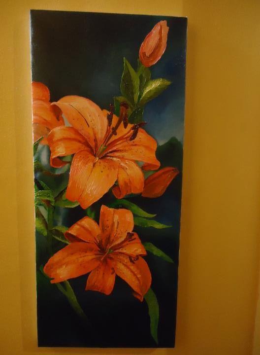 Bastidor 30 x 70  Pincel al oleos Fondo en pincel y flores en espatula