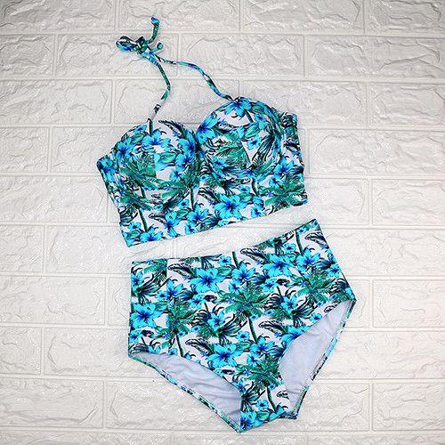 BLESSKISS Super Push Up Bikini Women Swimwear 2017 Print High Waist Swimsuit Plus Size Halter Beach Wear Swim Bathing Suits XXL
