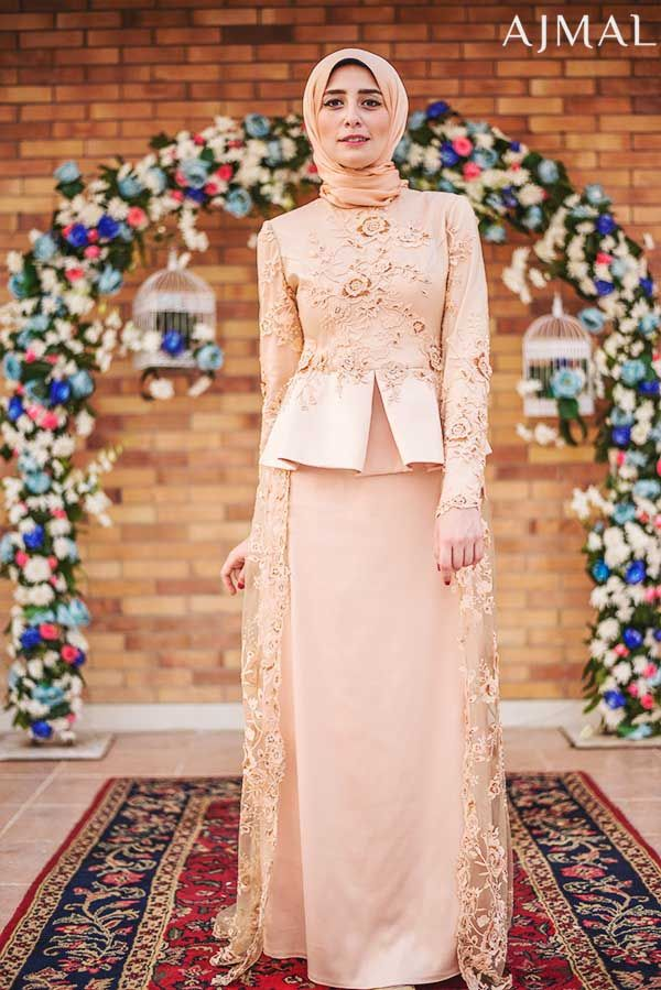 peach-hijab-soiree-dress- Beautiful hijab evening dresses