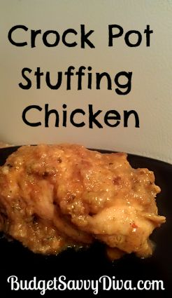 Crock pot stuffing chicken- 4 chicken breasts,  1 can crm of chicken soup, 1 t pepper, pinch red pepper, 1/2 t salt, 1 box stuffing mix, 1/2 c water.