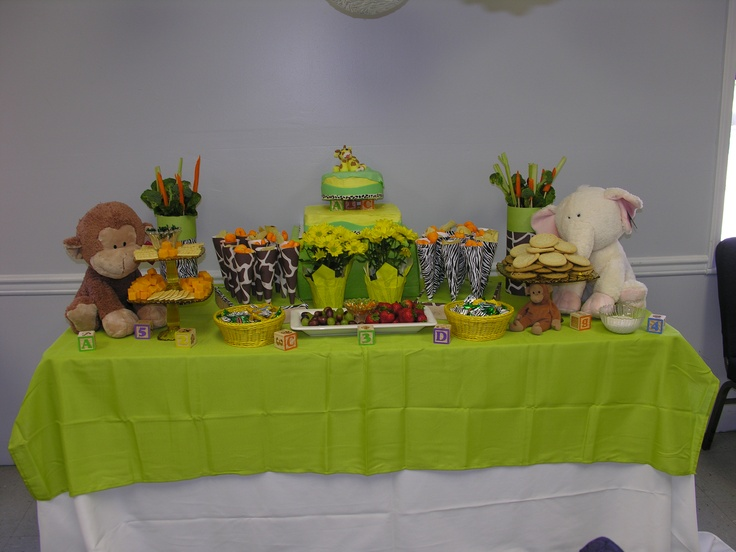 food table for baby shower abc 123 baby zoo animal theme