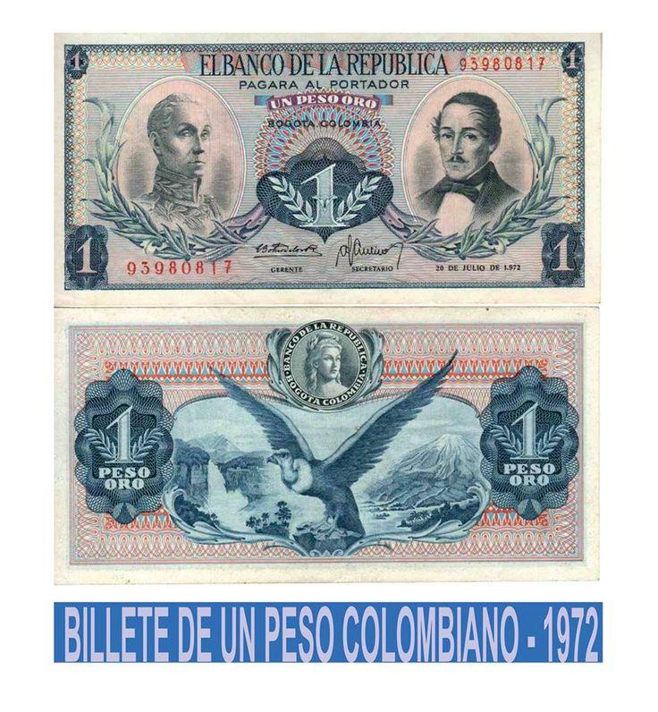 Billete de 1 peso Colombia
