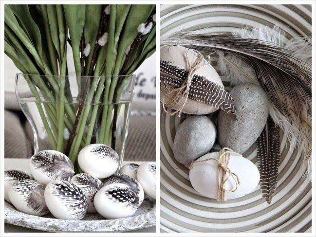 dekoracje pisanki w piórka