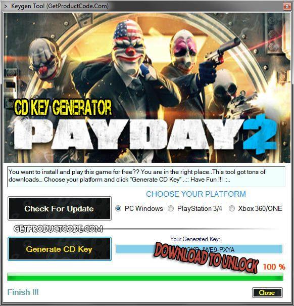 PAYDAY 2 CD Key Generator 2016
