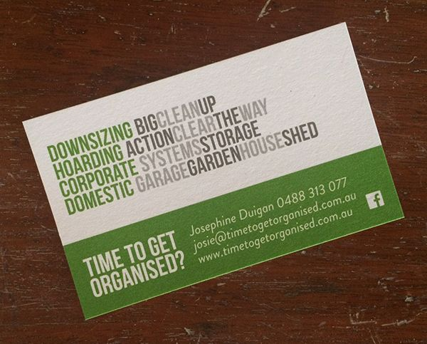 Business cards for Time to get Organised.